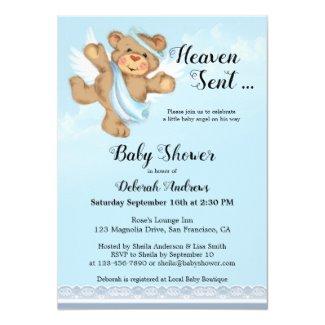 Heaven Sent Angel Bear Boy Baby Shower Invite