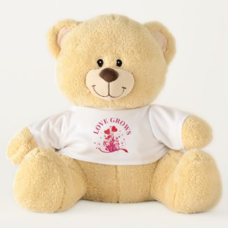 Love Grows Cute Floral Valentine's Day Teddy Bear