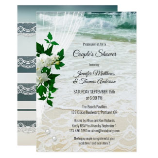 Orchid Lace Beach Bridal Couples Shower Invitation