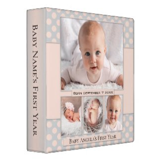 Pastel Peach Polka Dots Dream Baby Photo Binder