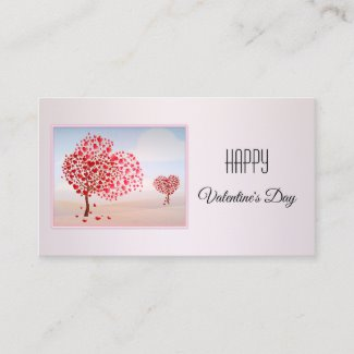 Pink Custom Photo Valentines Day Business Card