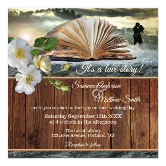 Romance Love Story Library Book Wedding Invitation