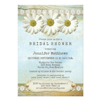Rustic Country Daisy Floral Bridal Shower Invitation