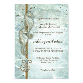 Seahorse Nautical Ocean Wedding Invitation