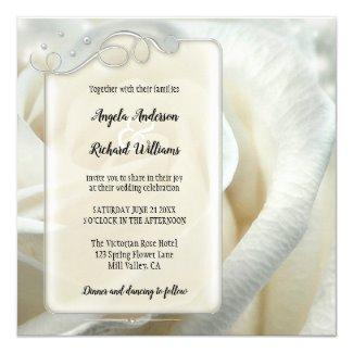 Silver Ivory Rose Wedding Invitation