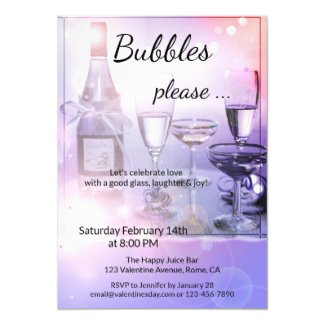 Sparkly Light Bubbles Valentines Day Party Invitation