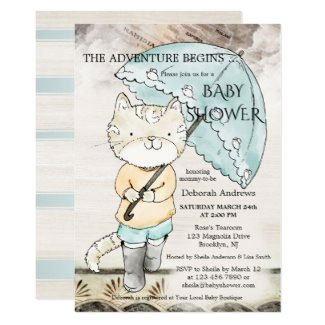 Travel Themed Cute Kitty Baby Shower Invitation