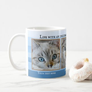 Personalized 3 Cute Cat Photos Blue Striped Mug - gifts for cat lovers