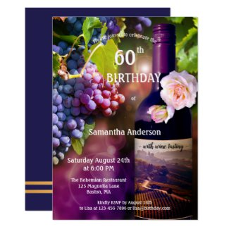 Adult Wine Tasting Birthday Invitation