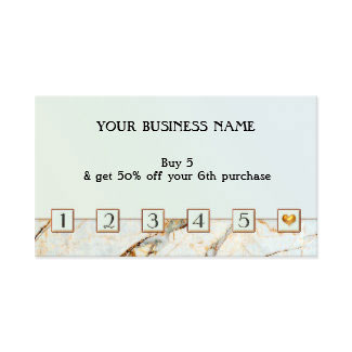 Aqua Marble Loyalty Punch Card Business Card