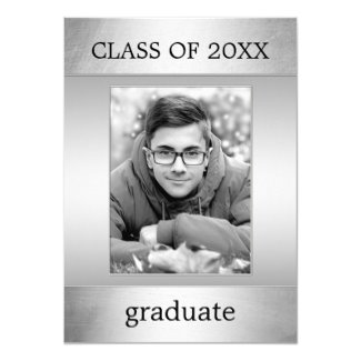 Custom Photo Silver Metallic Graduation Party Invitation