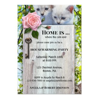 Cute Cat Lovers Housewarming Invitation