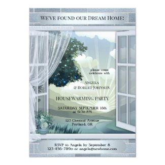 Dusty Blue Dream Home Housewarming Invitation