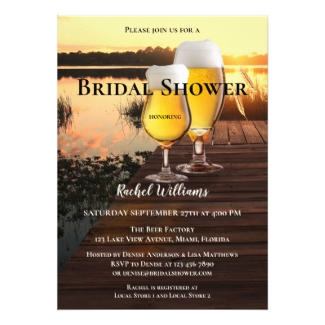 Lake View Sunset Beer Bridal Shower Invitation