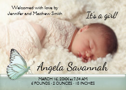 Modern Pastel Green Butterfly Baby Photo Announcement