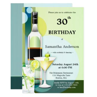 Modern Teal Green Cocktail Birthday Invitation