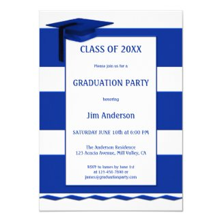 Nautical Navy Blue White Graduation Invitation
