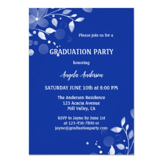 Elegant Floral Custom Photo Navy Graduation Invitation