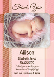 Pastel Plaid Baby Girl Pink Photo Thank You Card