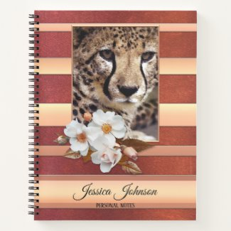 Rose Gold Floral Personalized Photo Spiral Notebook
