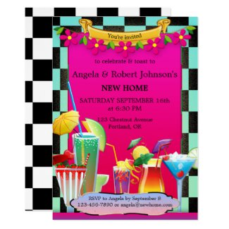 Retro Colorful Cocktail Party Housewarming Invitation