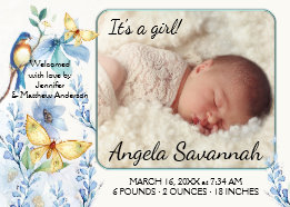 Spring Floral Butterfly Baby Photo Announcement