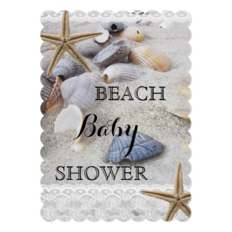 Beach Shells Lace Baby Shower Invitation