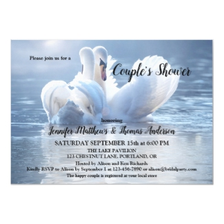 Swan Lake Dusty Blue Bridal Couple Shower Invitation