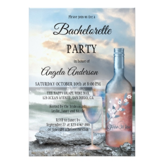 Beach and Wine Bachelorette Party Invitation