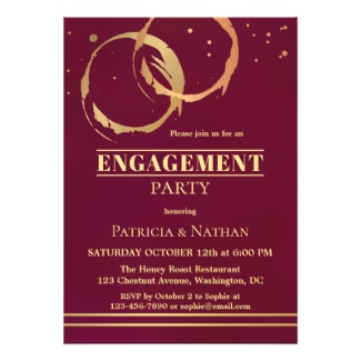 Burgundy Gold and Rose Gold Wine Themed Engagement Invitation