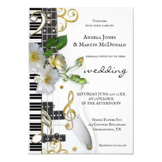 Elegant Floral Rose Music Themed Wedding Invitation
