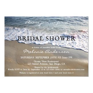 Elegant Simple Beach Bridal Shower Invitation