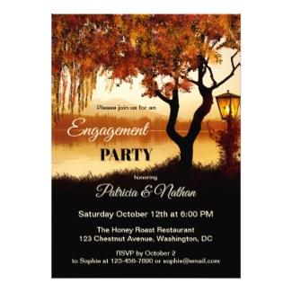 Fall Tree Lake View Engagement Invitation