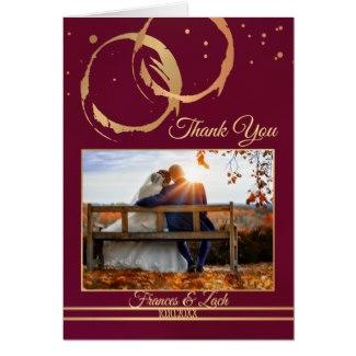 Rose Gold Burgundy Wine Wedding Photo Thank You Card