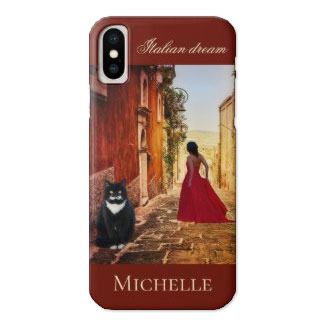 Italian Fine Art Lady in Red Personalized Phone Case