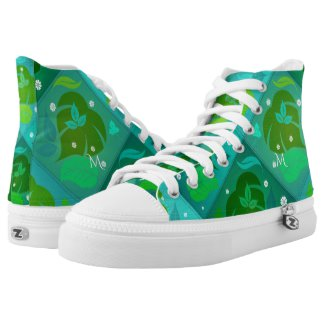 Monogram Teal Green Leaf Pattern High Top Shoes
