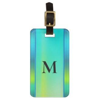 Monogrammed Bright Neon Turquoise Luggage Tag