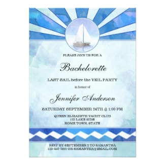 Nautical Watercolor Sailboat Bachelorette Invitation