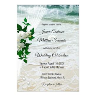 Orchid Lace Beach Destination Wedding Invitation