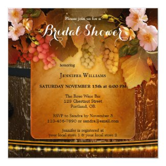 Peach Roses Wine Themed Bridal Shower Invitation
