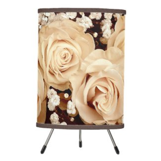 Roses with Baby Breath Floral Lamp