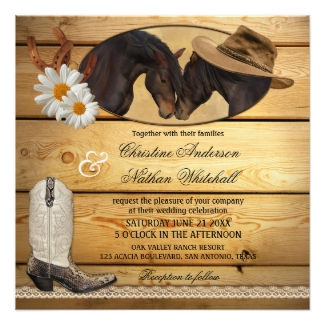 Rustic Country Horses Wedding Invitation