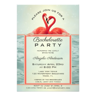 Sparkling Flamingo Bachelorette Party Invitation