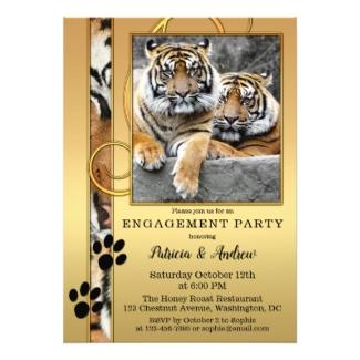 Tiger Safari Zoo Engagement Party Invitation
