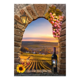 Winery or Vineyard Wine Themed Fine Art Wedding Invitation