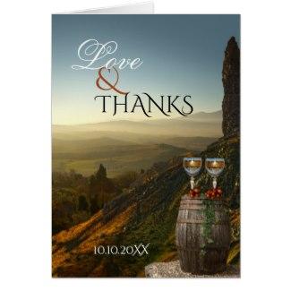 Vineyard Wine Themed Wedding Thank You Photo Card