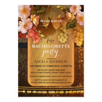 Wine Themed String Lights Bachelorette Party Invitation