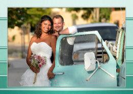 Your Photo Green Ton sur Ton Striped Wedding Thank You Card