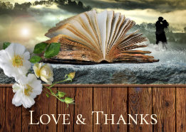 Your Photo Roses Book Lovers Thank You Card, wedding Thank You cards