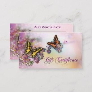 Artistic Butterflies Boutique Gift Card Template